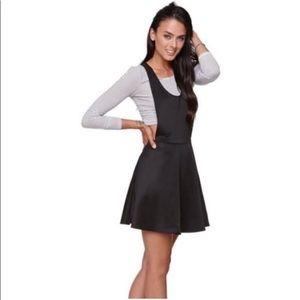 LA Hearts Black Bib Skater Dress